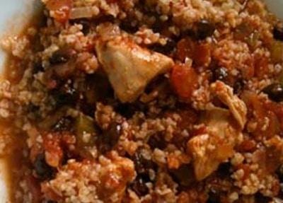 Black Bean Chicken Chili with Bulgur in a white bowl