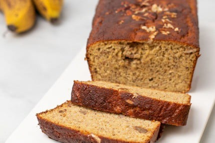 Slices of low-carb banana bread on plate