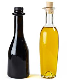 Bottles of Balsamic vinegar and olive oil