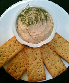 Smoked Salmon Spread with crackers