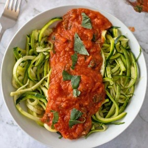 Oven roasted tomato sauce on veggie noodles