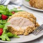 Panko Hazelnut Crusted Turkey Tenderloin cut into slices on a plate