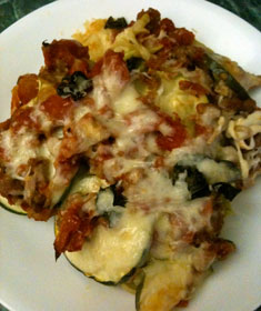 Eggplant Zucchini Bake on a white plate