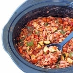 Slow Cooker Minestrone in a slow cooker with a ladle