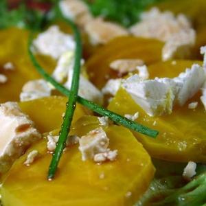 Gold Beet and Goat Cheese Salad with Balsamic Vinaigrette