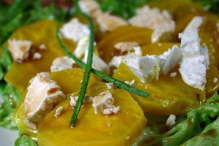 Gold Beet Salad with Goat Cheese and Balsamic Vinaigrette