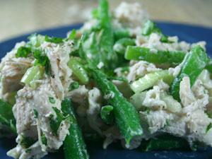 Chicken Salad with Green Beans, Tahini-Lemon-Yogurt Dressing, and Cilantro