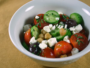 Greek Salad with Home-Cooked Chickpeas