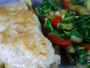 Sesame Chicken with Bok Choy and Red Peppers recipe