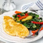Sesame Chicken with Bok Choy and Red Peppers