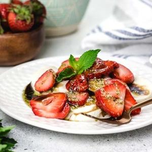 Strawberries and Fresh Mozzarella with Mint Pesto Drizzle