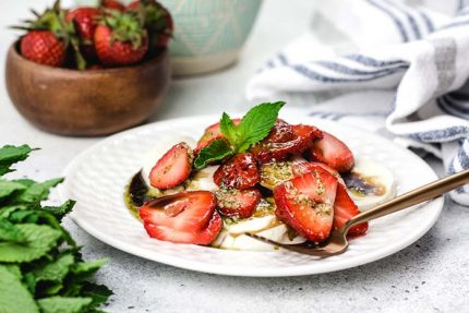 Strawberries and Fresh Mozzarella with Mint Pesto Drizzle
