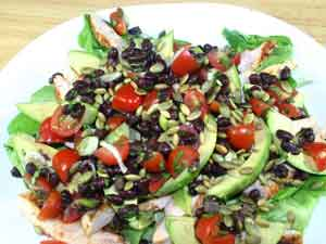 Southwestern Grilled Chicken Salad with Tomato and Black Bean Salsa