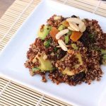 Quinoa Avocado Salad with Dried Fruit, Toasted Almnds and Lime-Cumin Vinaigrette