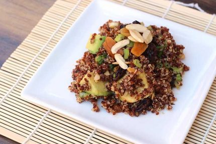 Quinoa Avocado Salad with Dried Fruit, Toasted Almonds and Lime-Cumin Vinaigrette