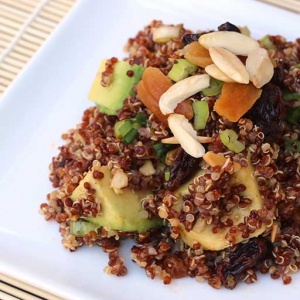 Quinoa Avocado Salad with Dried Fruit, Toasted Almonds, and Lime-Cumin Vinaigrette