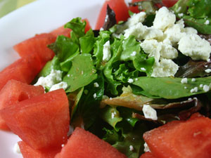 Tossed Greens with Watermelon-Jalapeno Vinaigrette and Feta Cheese