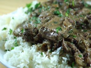 Indian-Inspired Beef with Yogurt Sauce from Emeril Lagasse's Sizzling Skillets