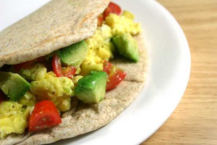 Breakfast Burritos with Cherry Tomato-Avocado Salsa