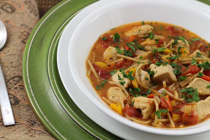 Chunky chicken spaghetti soup diabetic foodie forumfinder Choice Image