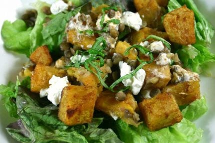 Spiced Pumpkin Salad with Lentils and Goat Cheese