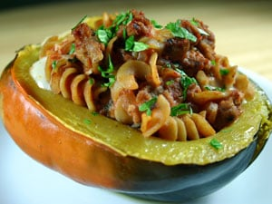 Acorn Squash Stuffed with Pasta and Turkey Italian Sausage