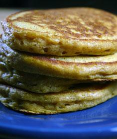 Pumpkin Pancakes with Applesauce-Yogurt Topping