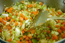 Sauteeing veggies for Secret Ingredient Beef Stew