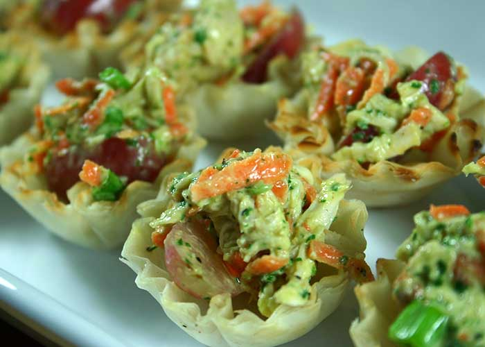 Pesto Chicken Salad with Grapes in Phyllo Cups