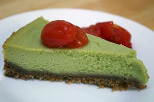 Avocado Cheesecake with Vanilla Tomatoes