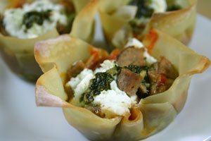 Lasagna Cups with Pesto