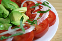 Tomato Avocado Salad with Berry-Orange Vinaigrette