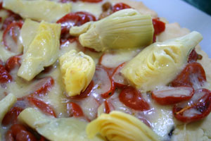 Gluten-free Pizza with Roasted Tomatoes and Artichokes