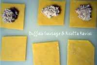 Buffalo Sausage & Ricotta Ravioli from Cooking with Books