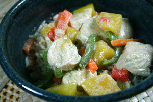Green Curry Chicken with Mango