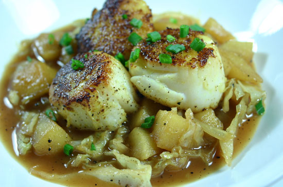 Vadouvan Curry-Dusted Scallops with Apple Broth