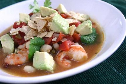 Spicy Shrimp Soup with Avocado