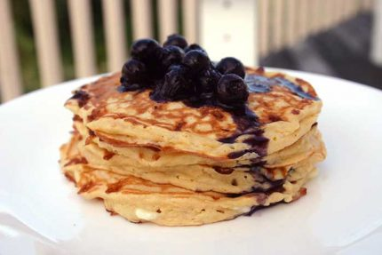 Light as a Feather Pancakes with Berry Sauce