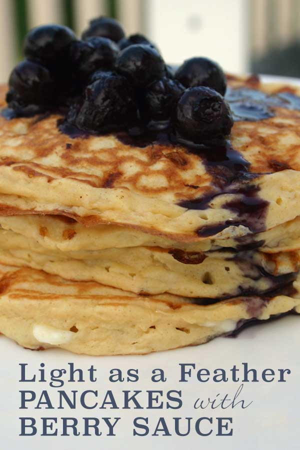 Light as a Feather Pancakes with Berry Sauce - cottage cheese provides extra protein | diabeticfoodie.com
