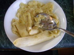 Mashing bananas