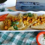 Spicy Chickpea Crepe with Cucumber-Yogurt Sauce (gluten-free)