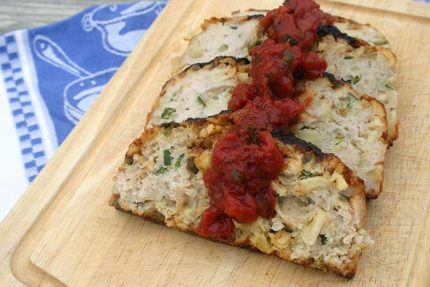 Chicken Apple Meatloaf with Tarragon Tomato Sauce for #SundaySupper