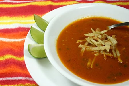 Tortilla Soup with Roasted Vegetables