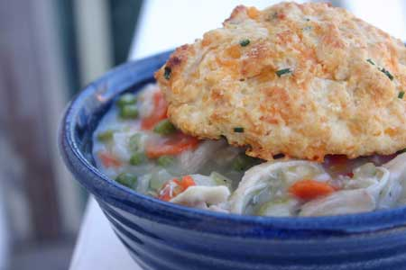 Chicken Pot Pie with Cheddar-Chive Biscuits