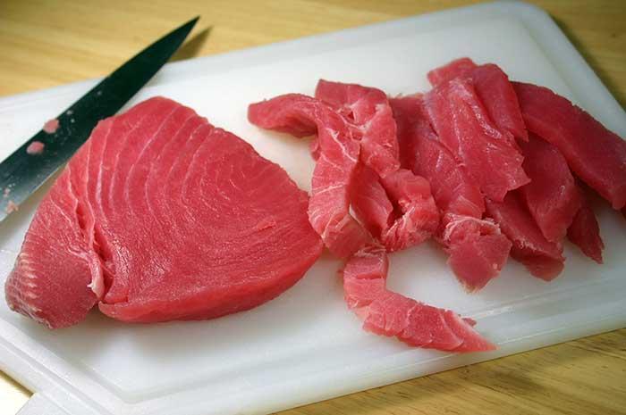 Fresh sushi-grade yellowfin tuna