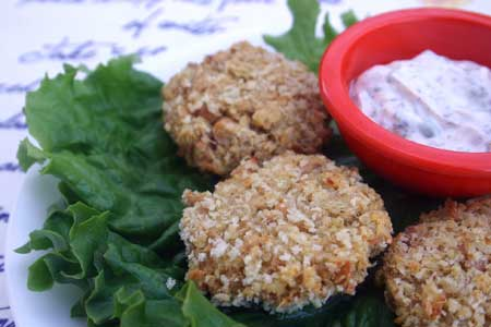 Salmon Quinoa Patties with Lemon-Caper Tartar Sauce