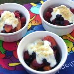 Berries and Peaches with Honey Vanilla Yogurt
