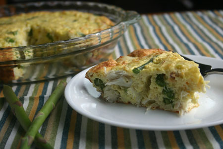 Crustless Crab and Asparagus Quiche
