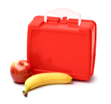 Lunch box with apple and banana