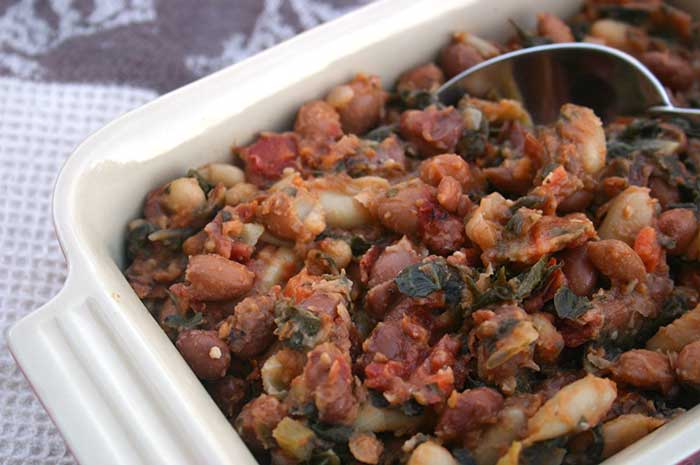 Baked Beans with Swiss Chard & Kale